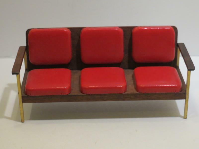 Vtg 1987 Miniature Dollhouse Artisan Danish Modern Sofa