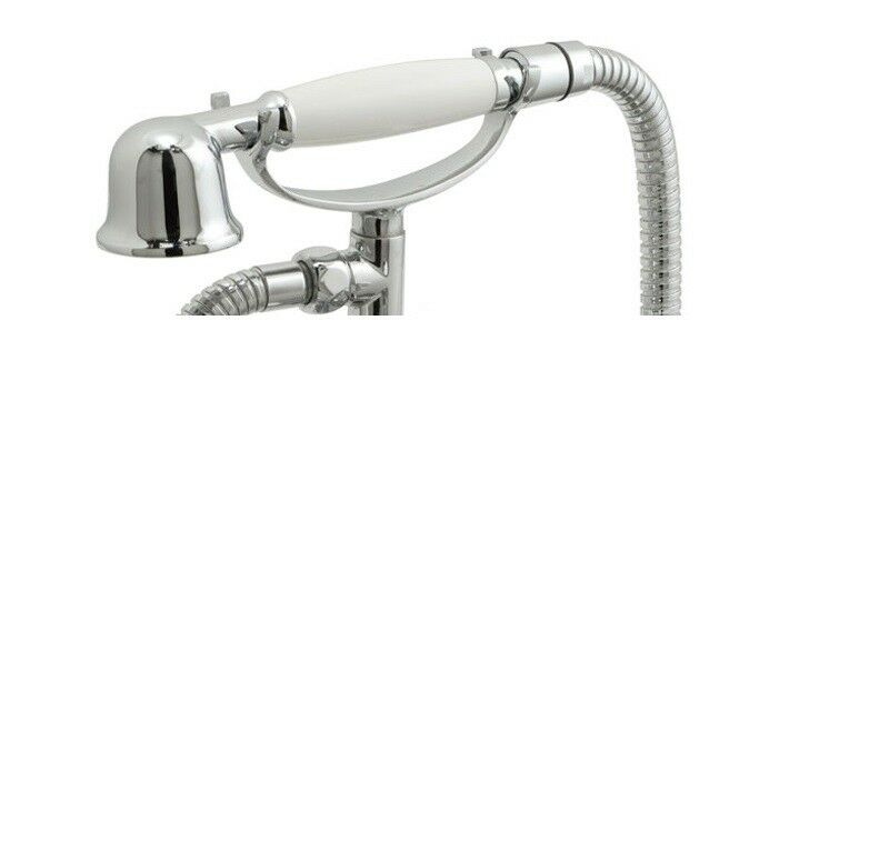 TRADITIONAL VICTORIAN STYLE SHOWER HEAD, WHITE HANDLE