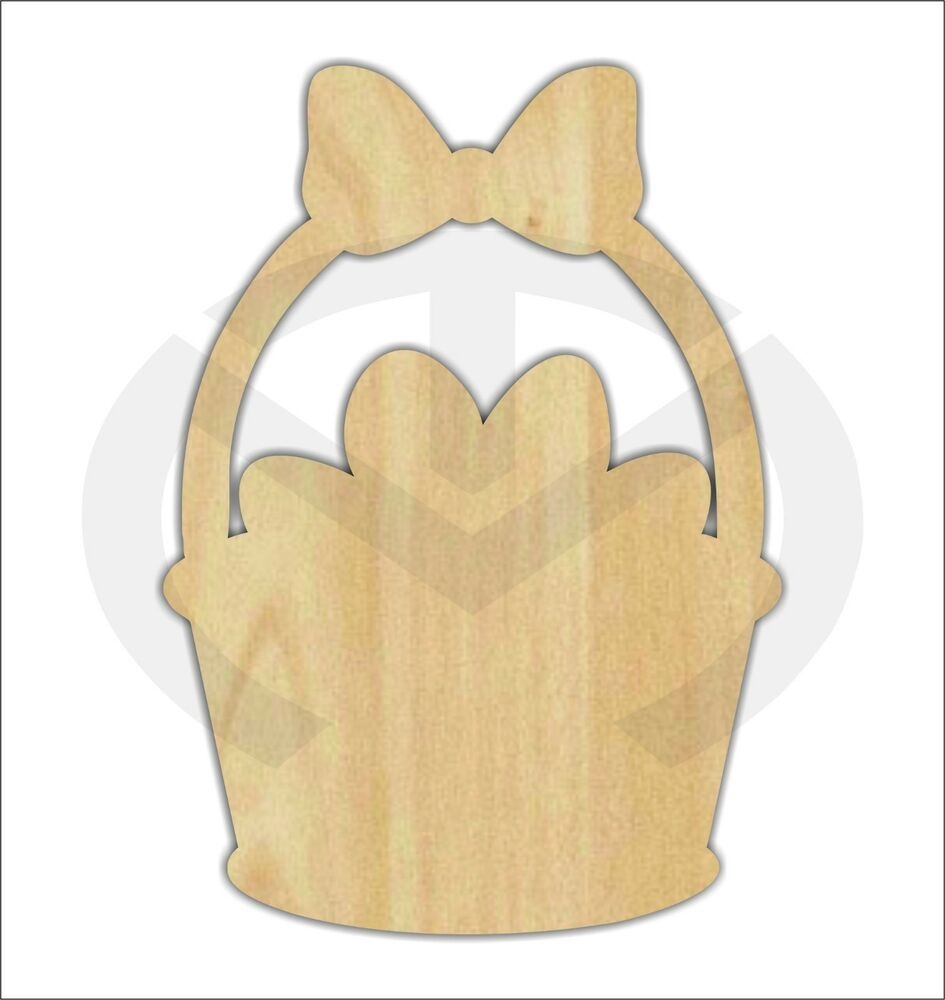 Unfinished Wood Easter Basket Laser Cutout Wreath Accent