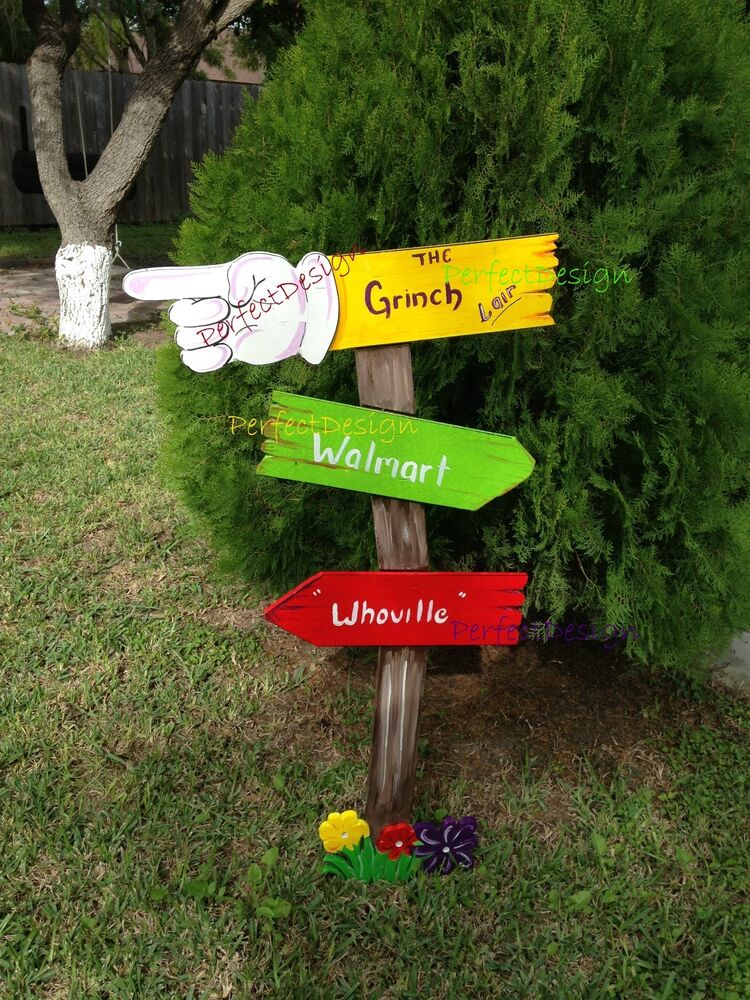 Grinch whoville sign christmas lawn yard art decoration for Wooden garden decorations
