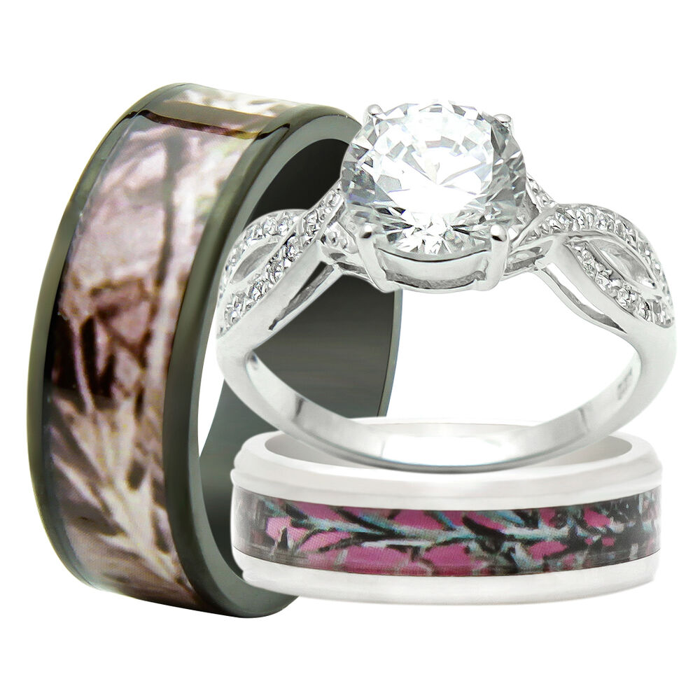 His and hers titanium camo 925 sterling silver 3pc for 3pc wedding ring set