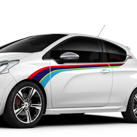 peugeot 208 gti rally side stripe graphics decals ebay. Black Bedroom Furniture Sets. Home Design Ideas