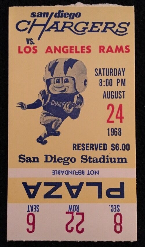 1968 Afl Ticket San Diego Chargers Vs Los Angeles Rams 8