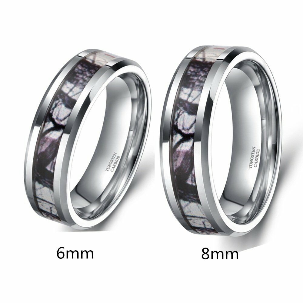 Men39s tungsten dome ring forest camouflage camo real tree for Tungsten camo wedding rings