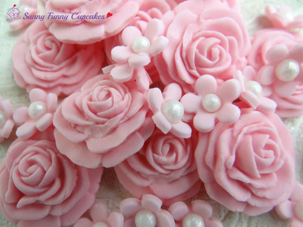 Cake Decorations Flowers Uk : Pink roses and flowers edible cupcake decorations cake ...