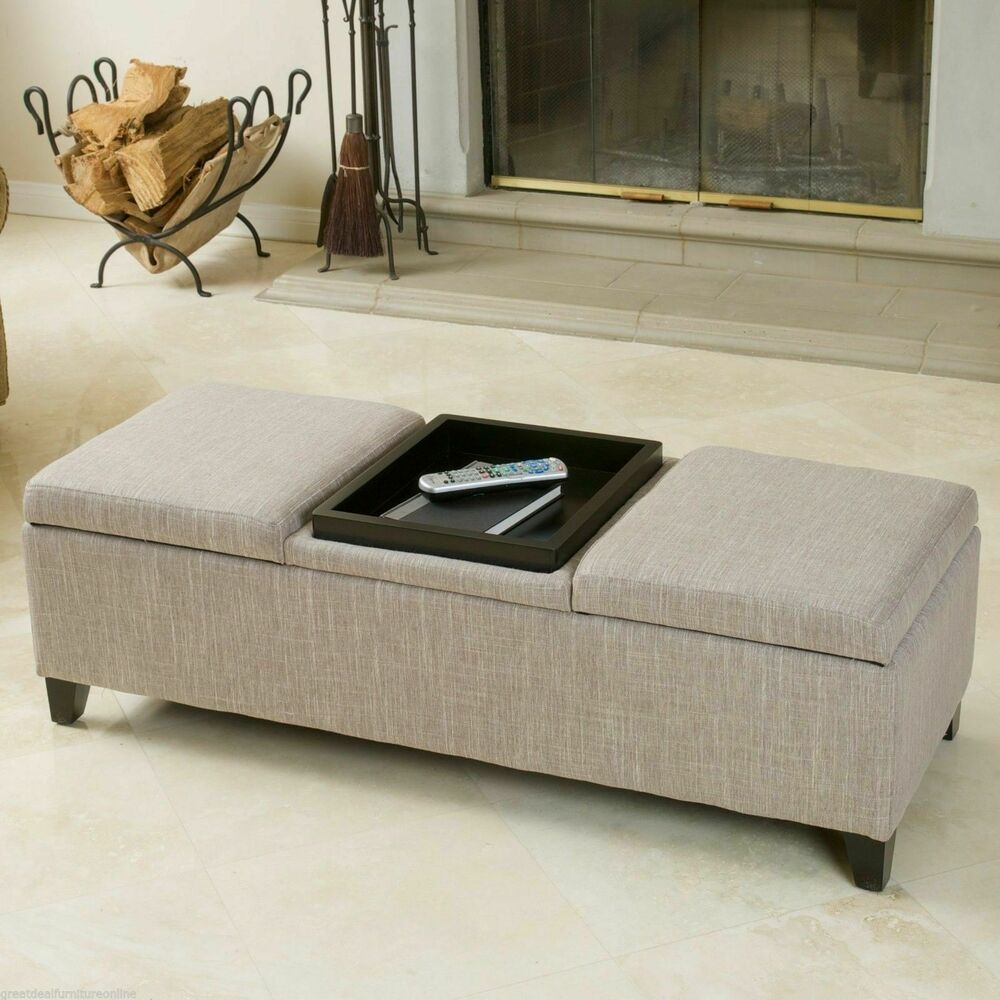 Elegant design chamois fabric storage ottoman with center coffee table tray ebay Ottoman coffee table trays