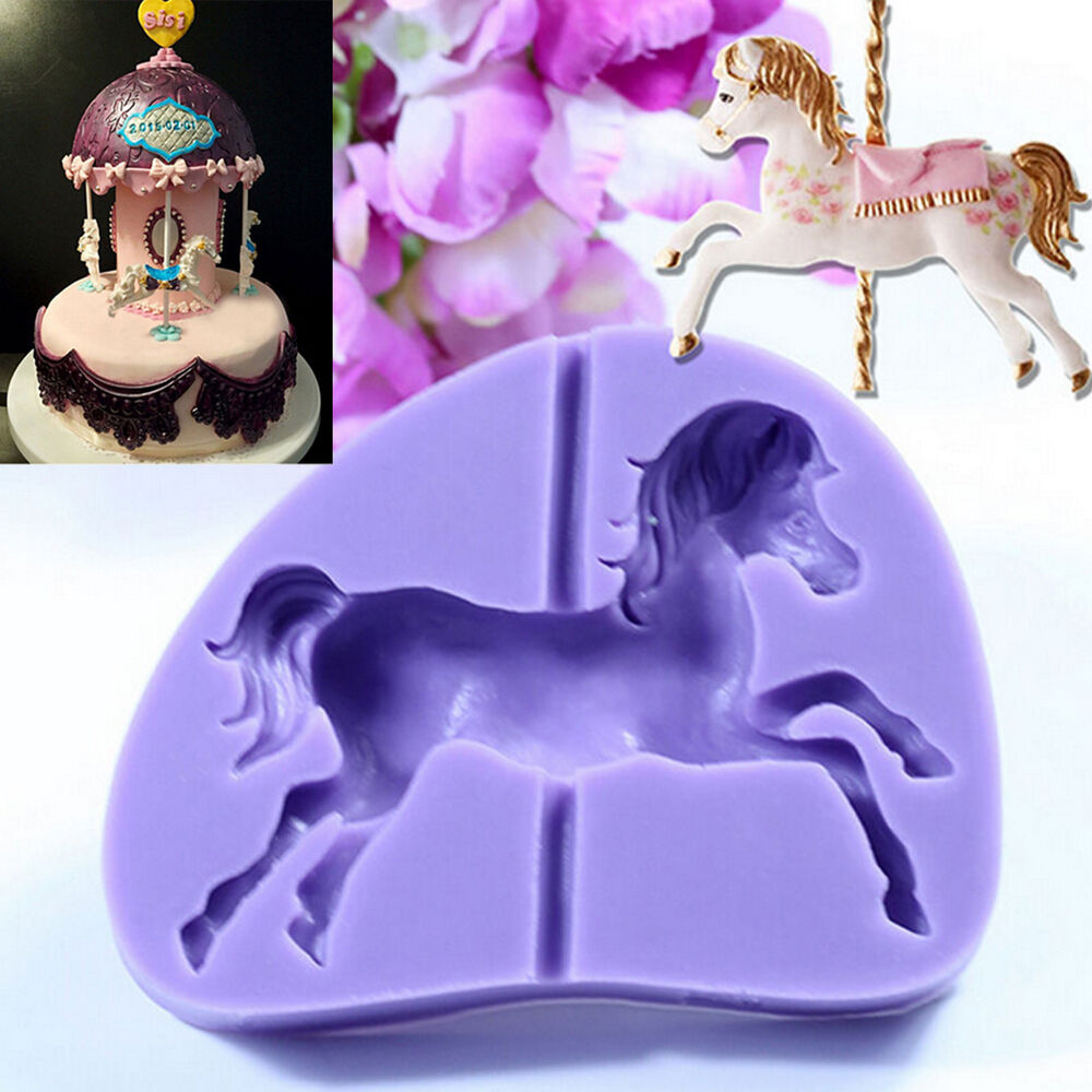 Cake Art Candy Molds : Cute Carousel Horse Silicone Fondant Mold Cake Decor ...
