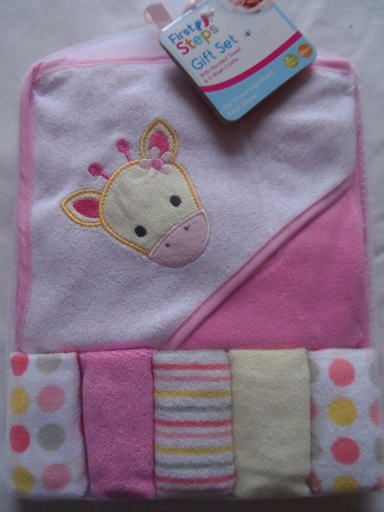 hooded baby towel and 5 washcloths giraffe ebay. Black Bedroom Furniture Sets. Home Design Ideas