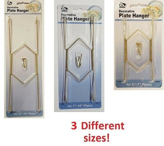 decorative plate hangers in 2 sizes display brass plated invisible wire ebay. Black Bedroom Furniture Sets. Home Design Ideas