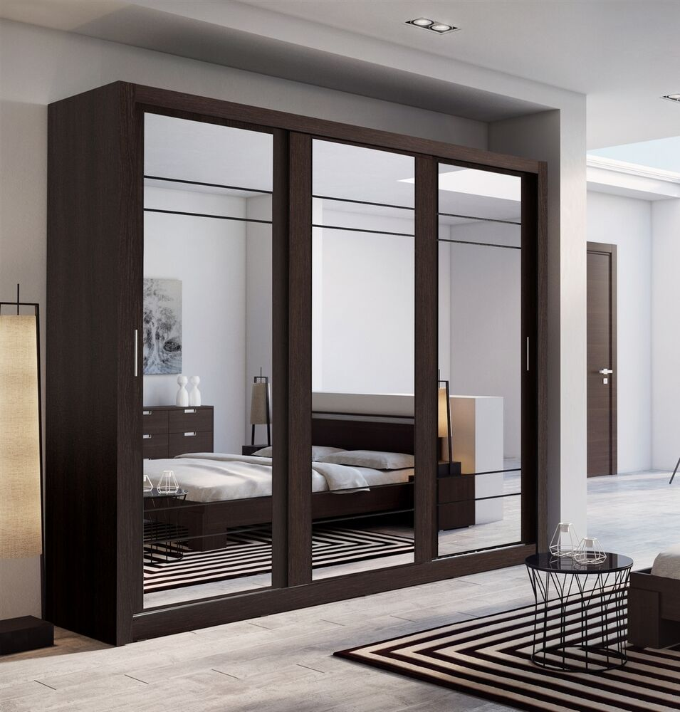 bedroom 3 sliding door mirror wardrobe arti 2 250cm in wenge ebay