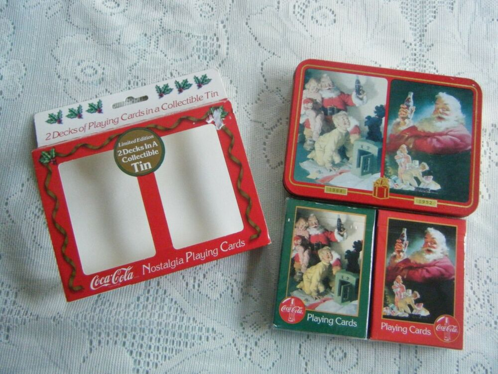 coca cola christmas playing cards two deck set in tin 1996 swap crafting ebay. Black Bedroom Furniture Sets. Home Design Ideas