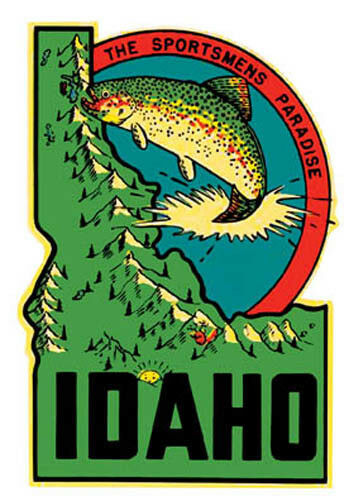 Idaho fishing vintage style 1950 39 s travel decal sticker ebay for Idaho fish and game phone number