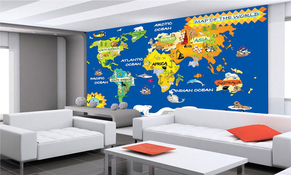 world kids map wall mural photo wallpaper giant decor paper poster free paste ebay. Black Bedroom Furniture Sets. Home Design Ideas