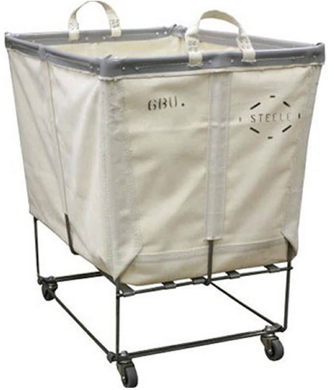 Laundry Cart White Canvas Basket Truck On Wheels Ebay