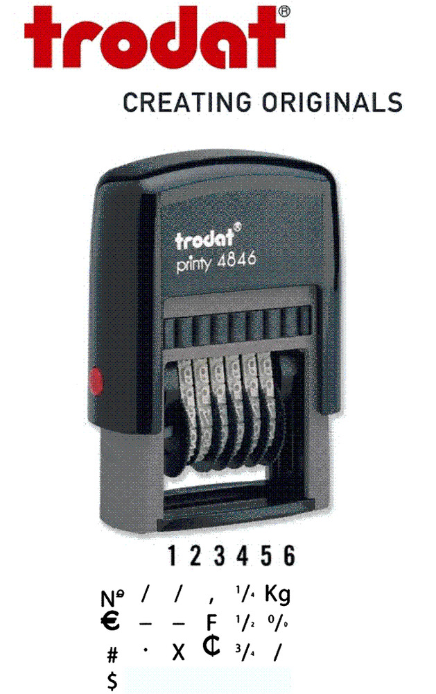 Trodat 4846 Numbering Self Inking Rubber Stamp 6 Band