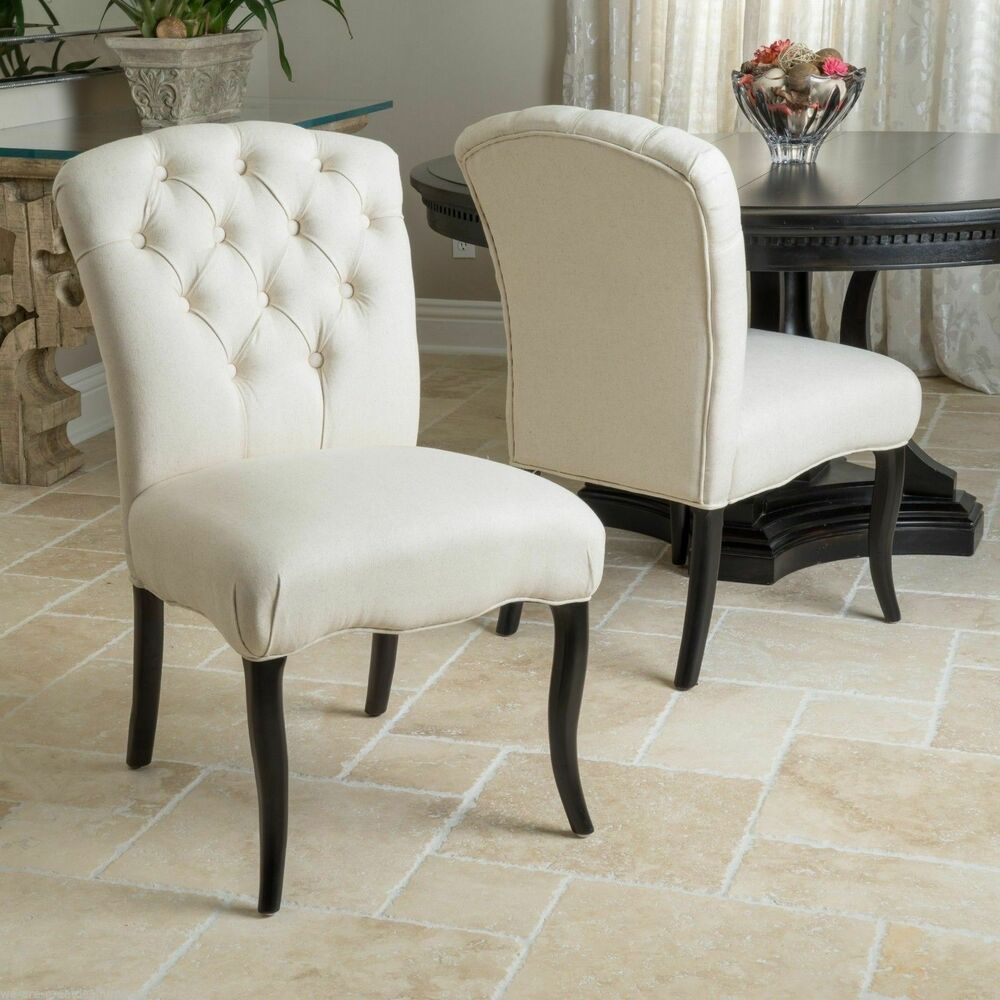 Set Of 2 Dining Chairs: Set Of 2 Dining Room Elegant Button Tufted Linen Fabric