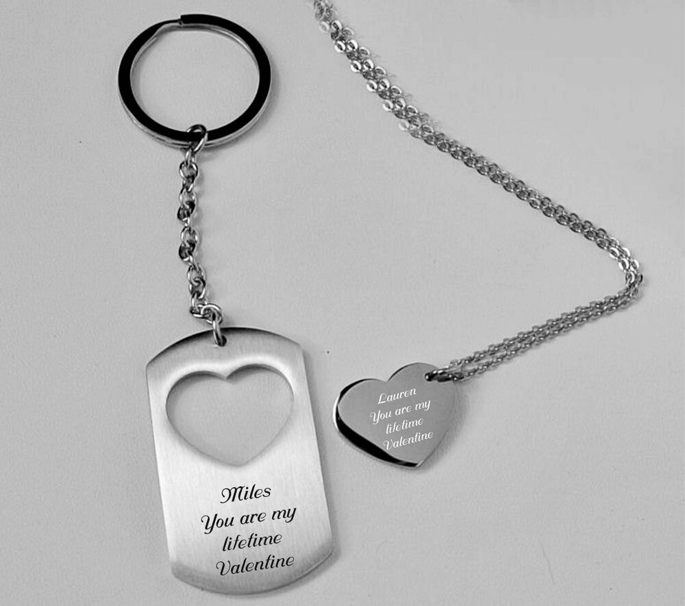 personalized couples heart charm necklace dog tag. Black Bedroom Furniture Sets. Home Design Ideas
