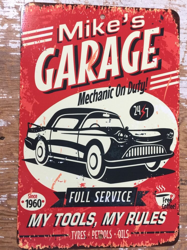 Personalized Garage Signs : Metal personalized signs man cave garage bar shop pool