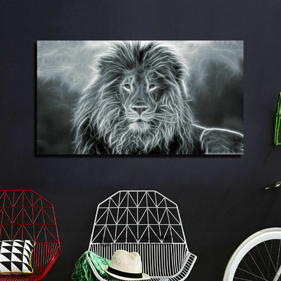 Lion Strectched Canvas Prints Framed Wall Art Home Office