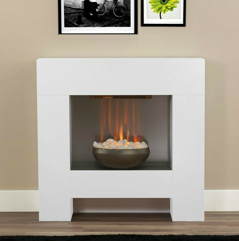 Electric White Surround Pebble Fire Modern Contemporary
