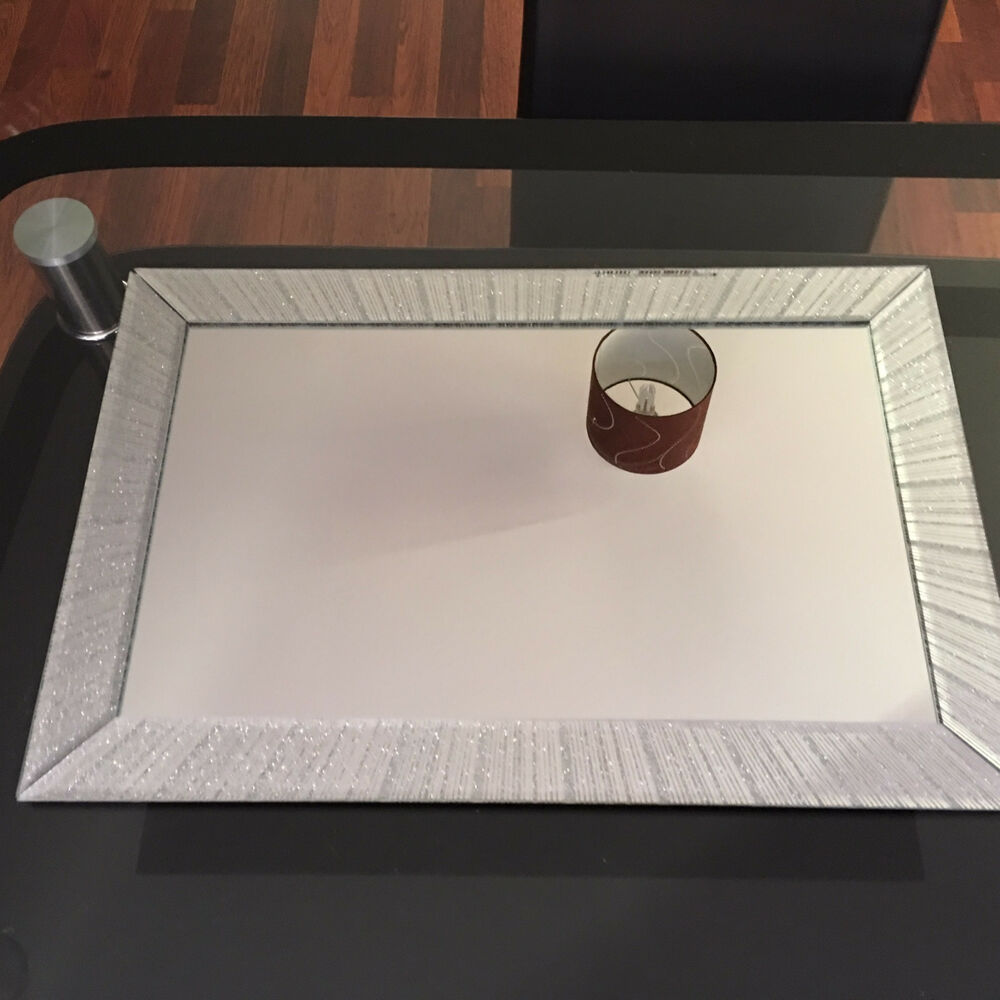 Large Silver Glitter Sparkle Wall Mirror Girls Room