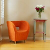 Modern Tub / Barrel Design Orange Microfiber Accent Chair