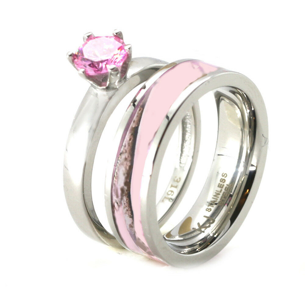 Womens Pink Camo Engagement Wedding Ring Set Stainless