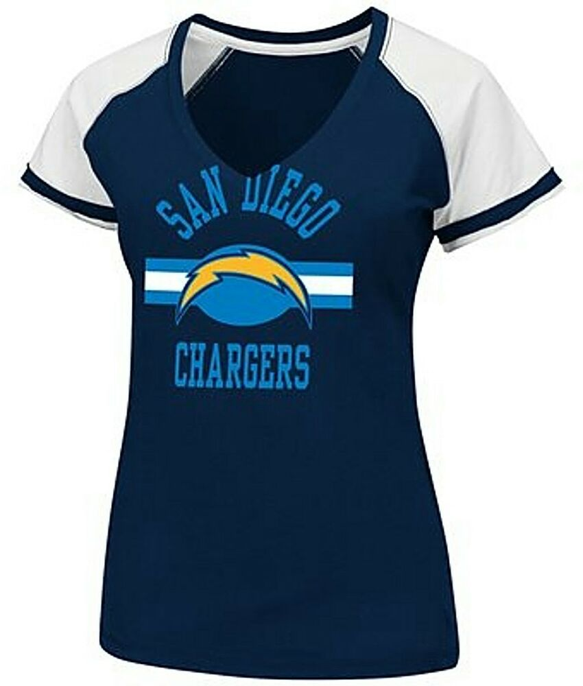 San Diego Chargers Clothing: San Diego Chargers NFL Womens Go For II Navy Neck Shirt