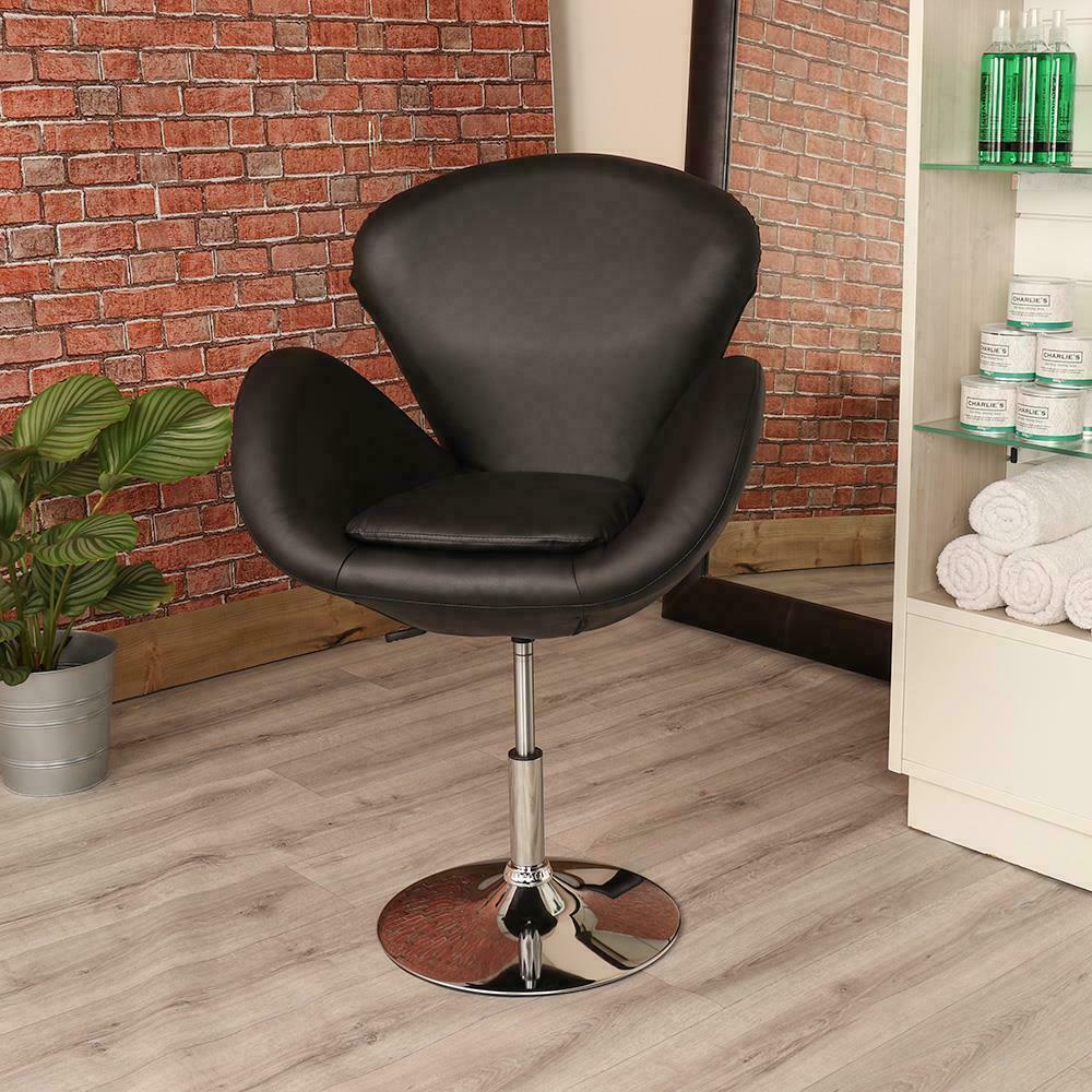 Black leather style hairdresser barber swivel chair beauty for Hairdressing chairs