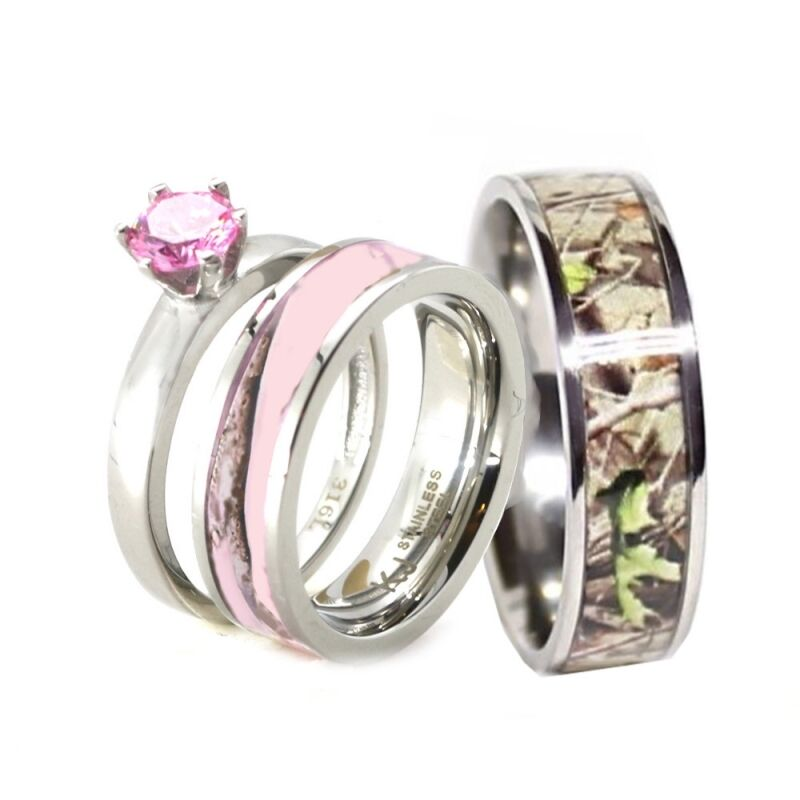 His her pink camo band engagement wedding ring set for Camoflauge wedding rings