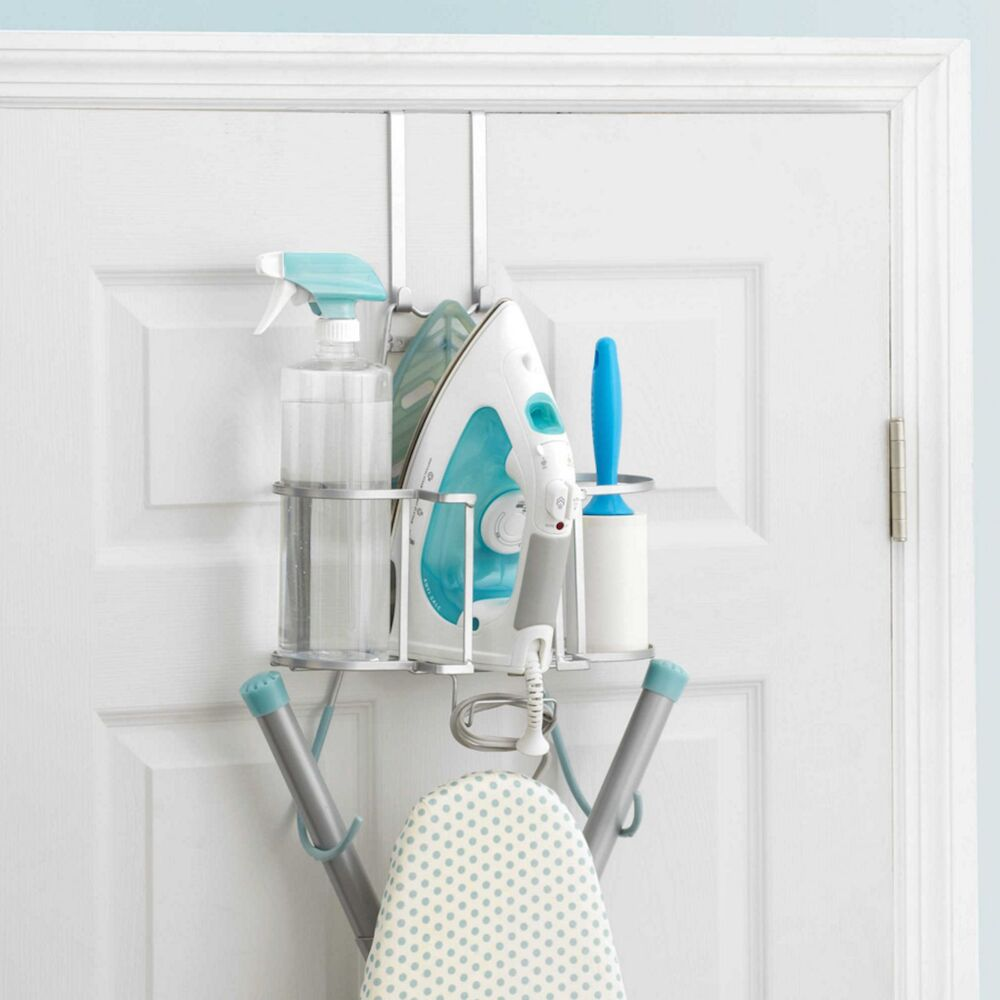 deluxe laundry ironing caddy board organizer wall mount storage over door holder ebay. Black Bedroom Furniture Sets. Home Design Ideas