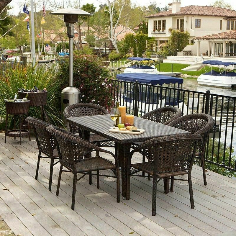 Outdoor patio furniture 7pcs brown all weather wicker for All weather outdoor furniture