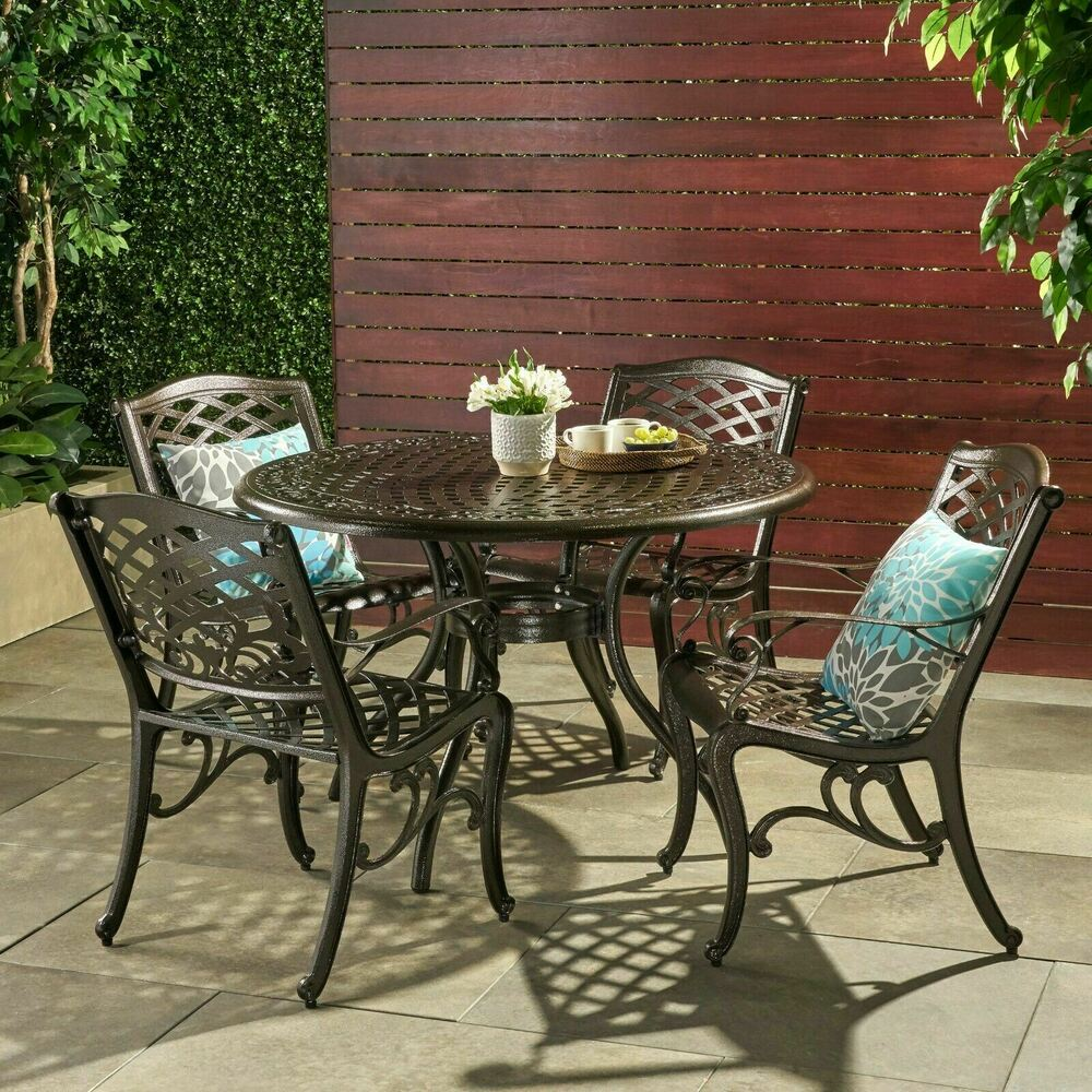 Outdoor patio furniture 5pcs bronze cast aluminum dining for Patio furniture table set