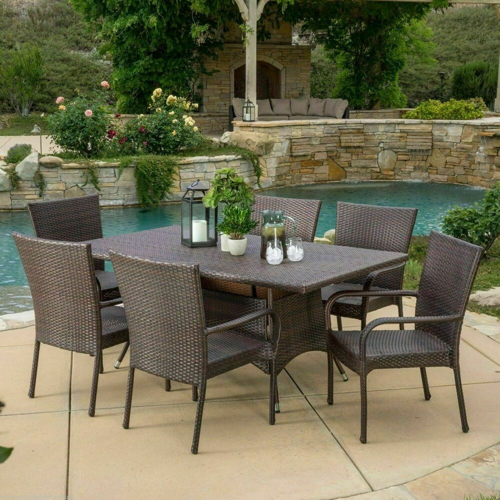 outdoor patio furniture 7pc multibrown all weather wicker. Black Bedroom Furniture Sets. Home Design Ideas