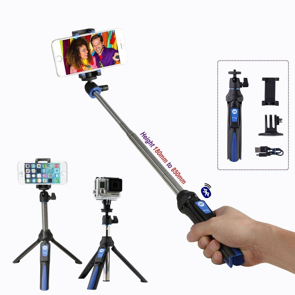 benro smart mini tripod and selfie stick with bluetooth wireless remote bk10 ebay. Black Bedroom Furniture Sets. Home Design Ideas