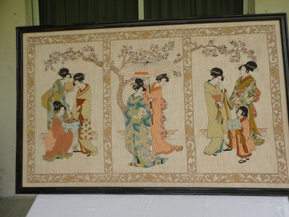 Chinese 45 embroidery painting geisha figures textile for Wall hanging painting designs