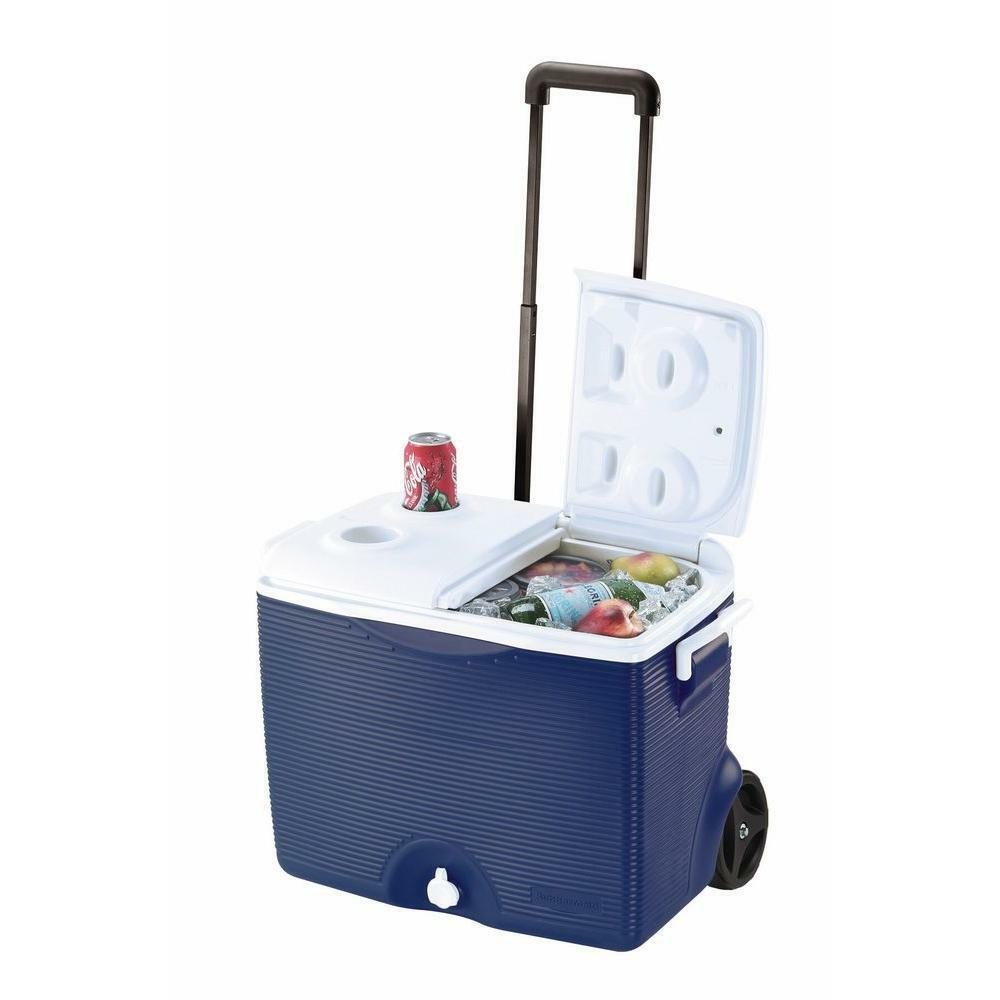 Ice Box Cooler : Rubbermaid qt blue wheeles cooler outdoor camping ice