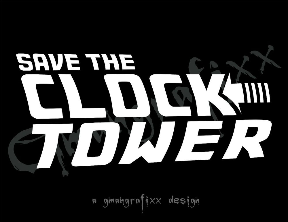 save the clock tower decal sticker car window back to the. Black Bedroom Furniture Sets. Home Design Ideas