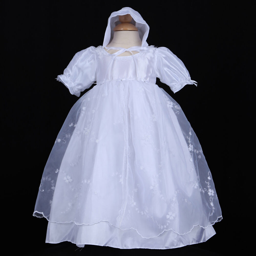 White infant baby girl baptism christening gown dress for Making baptism dress from wedding gown