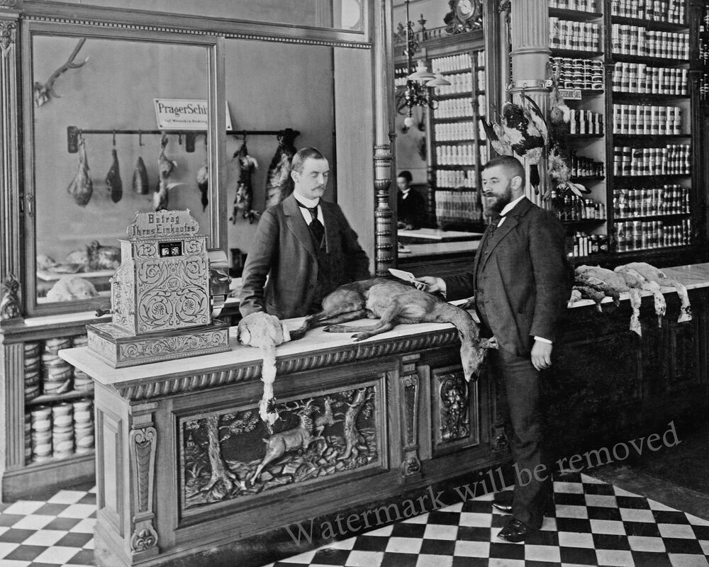photograph vintage berlin germany petznick game butcher shop year 1899 8x10 ebay. Black Bedroom Furniture Sets. Home Design Ideas