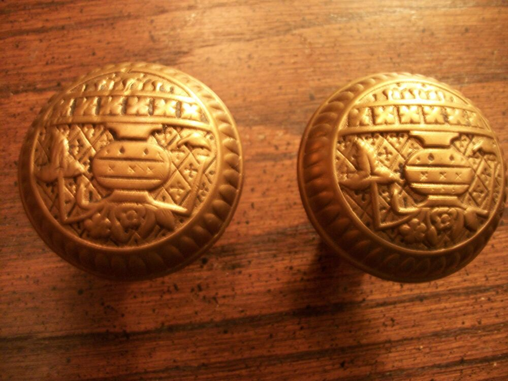 Antique Victorian Old Cast Bronze Door Knobs B 126