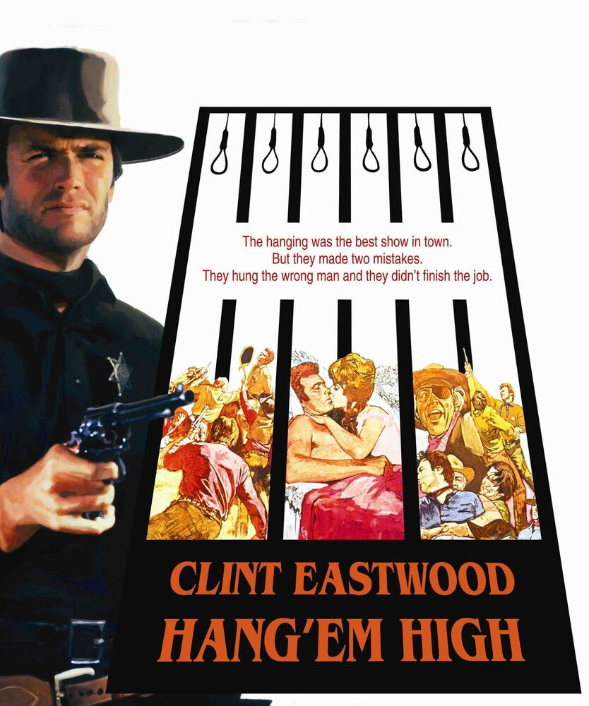 HANG EM HIGH Movie Poster RARE Clint Eastwood Western