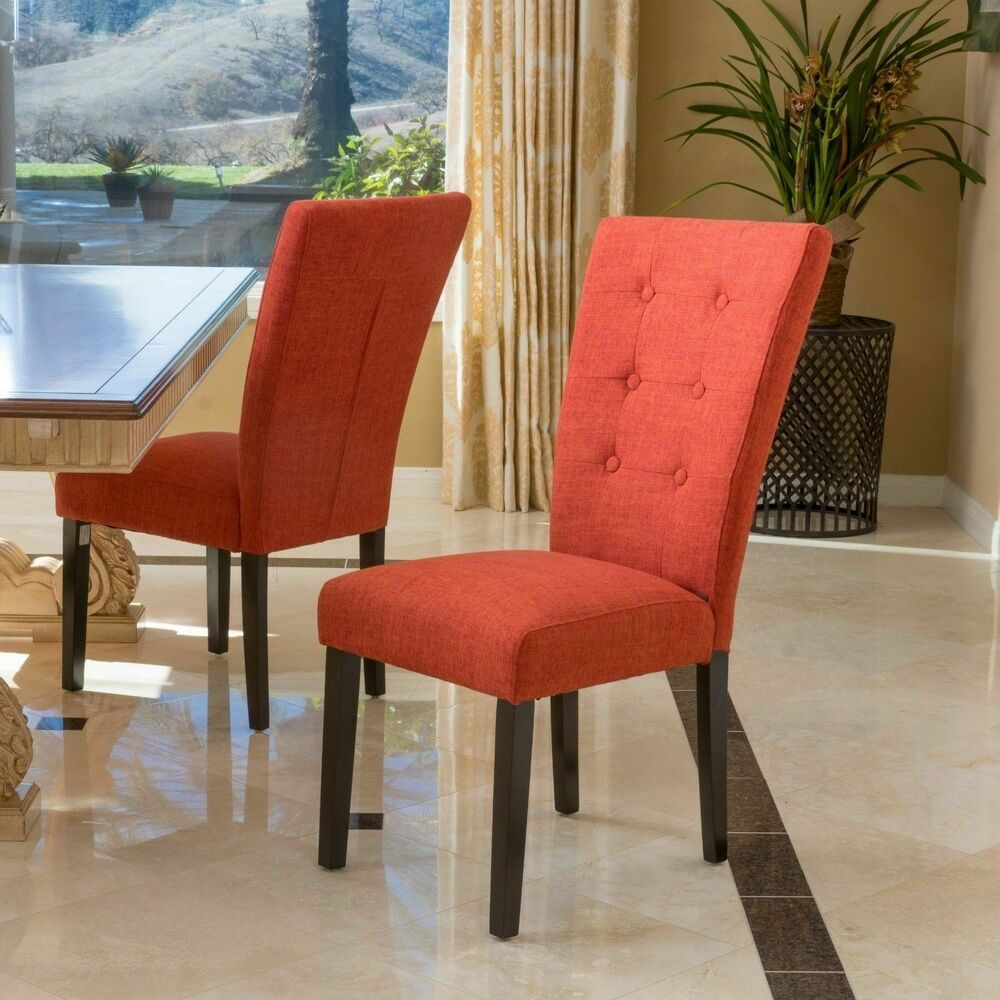 White Fabric Dining Room Chairs: Set Of 2 Contemporary Fabric Orange Dining Chairs