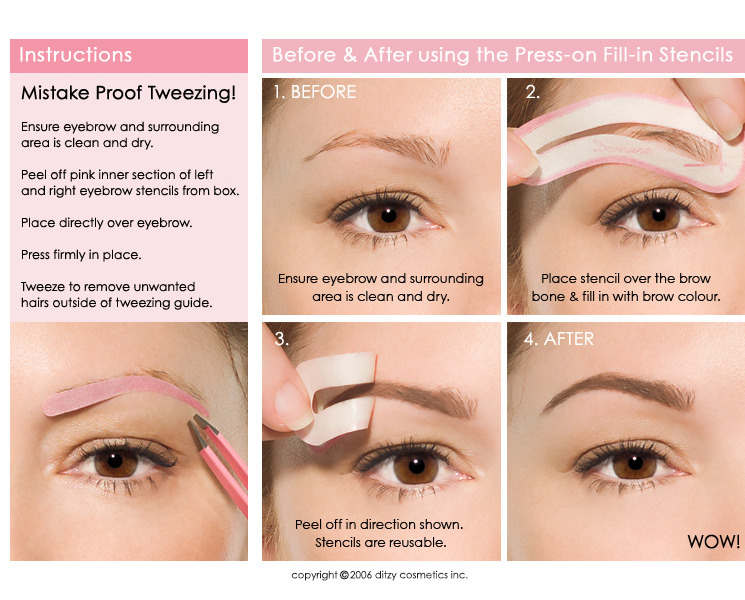 Hands free stencils eyebrow grooming shapers ebay for Eyebrow templates printable