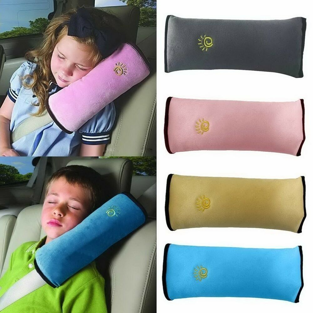 kids headrest neck support pillow shoulder cushion sleep pad for car seat belts ebay. Black Bedroom Furniture Sets. Home Design Ideas