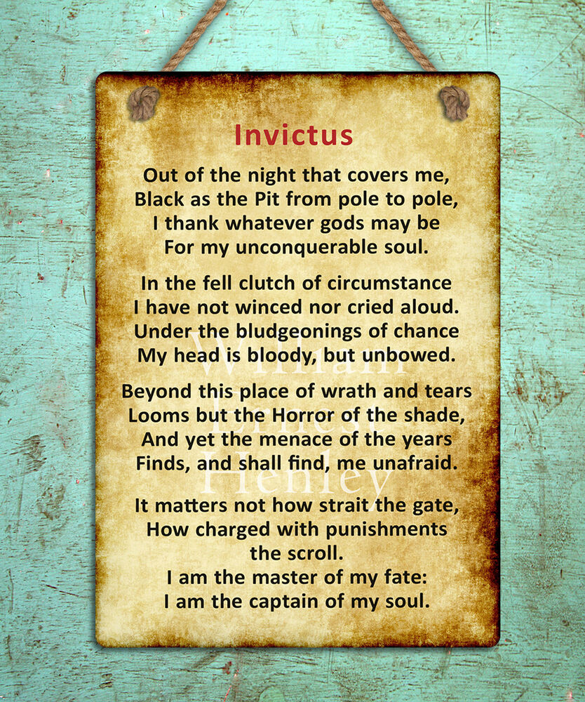 metal hanging sign Invictus poem inspiring motivational quote wall ...