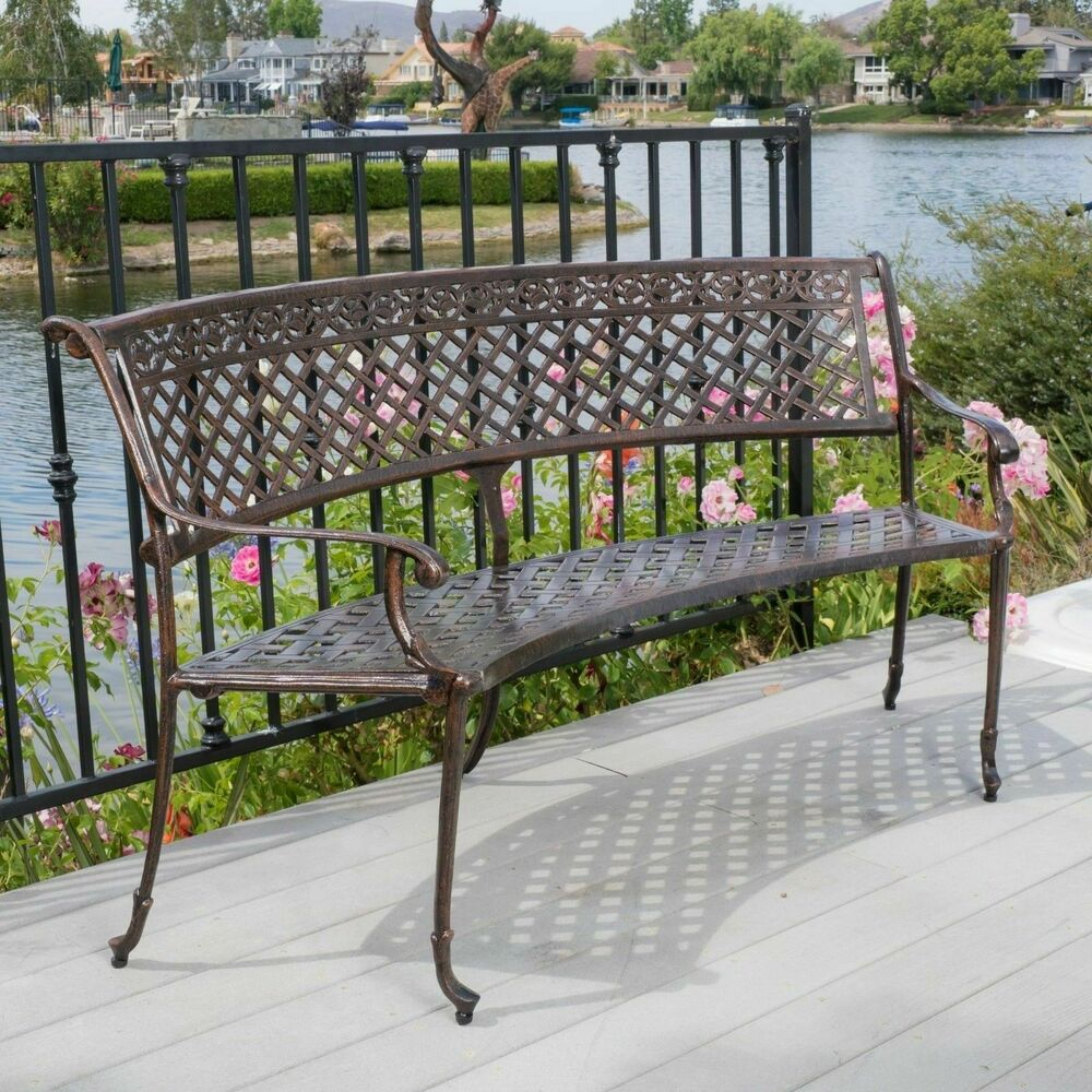 Elegant outdoor patio furniture antique copper cast aluminum bench ebay Aluminum benches