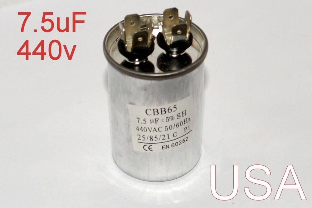 Dual Run Capacitor 7 5 Mfd Uf 440v Ac Electricmotor Hvac 440 Vac Volts Usa