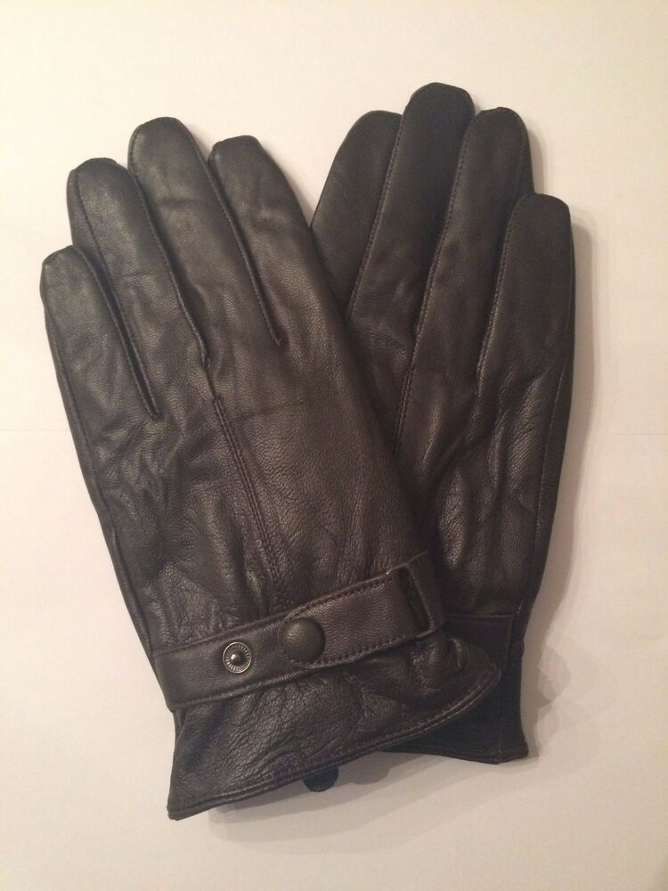 Mens GENUINE LAMBSKIN soft leather warm winter gloves with