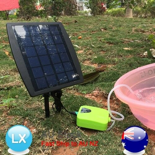 Day night solar powered oxygenator oxygen air fish pond for Pool pump for koi pond